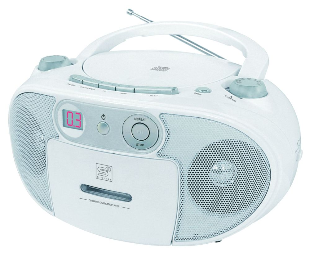 radiorecorder boombox cd player kassettendeck weiss s2 digital cdr 7 ebay. Black Bedroom Furniture Sets. Home Design Ideas