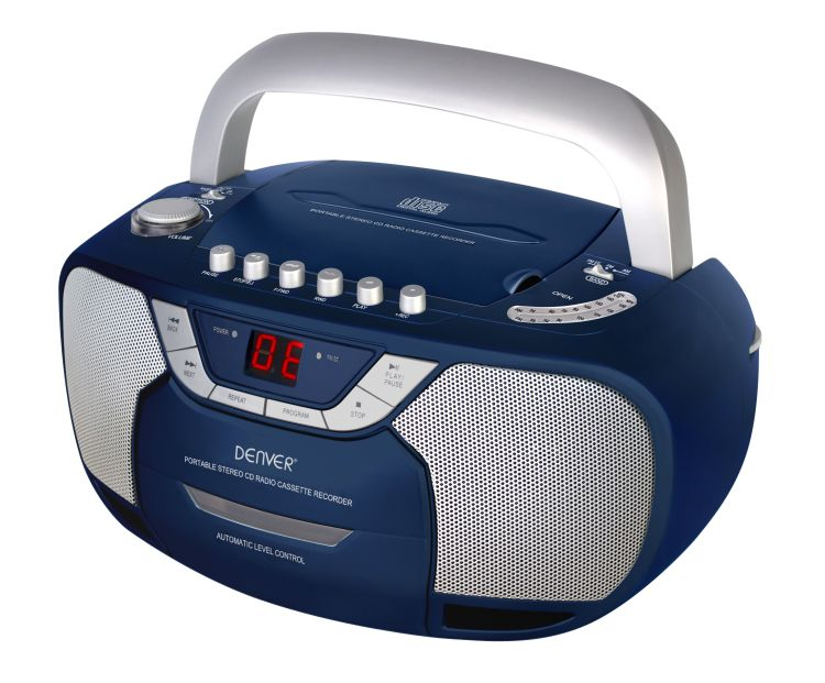 radiorecorder kassettenrecorder cd player blau silber. Black Bedroom Furniture Sets. Home Design Ideas