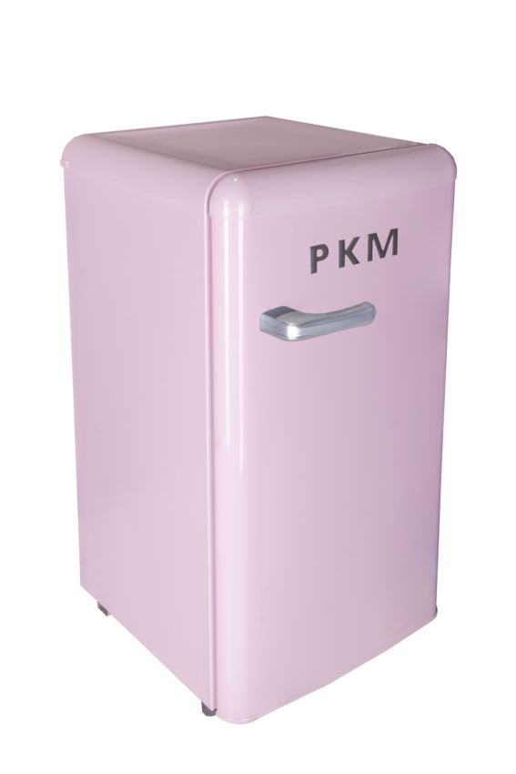 pkm retro k hlschrank pink a 88 l mit gefrierfach standger t r 86 4 ebay. Black Bedroom Furniture Sets. Home Design Ideas
